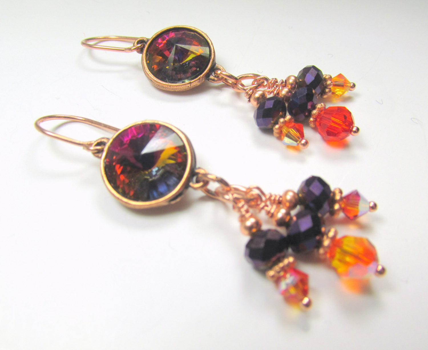 Swarovski Necklace in Rivoli Volcano Crystals set in Copper Settings with Swarovski Fire Opal AB Orange and Metallic Purple Crystals - Odyssey Creations