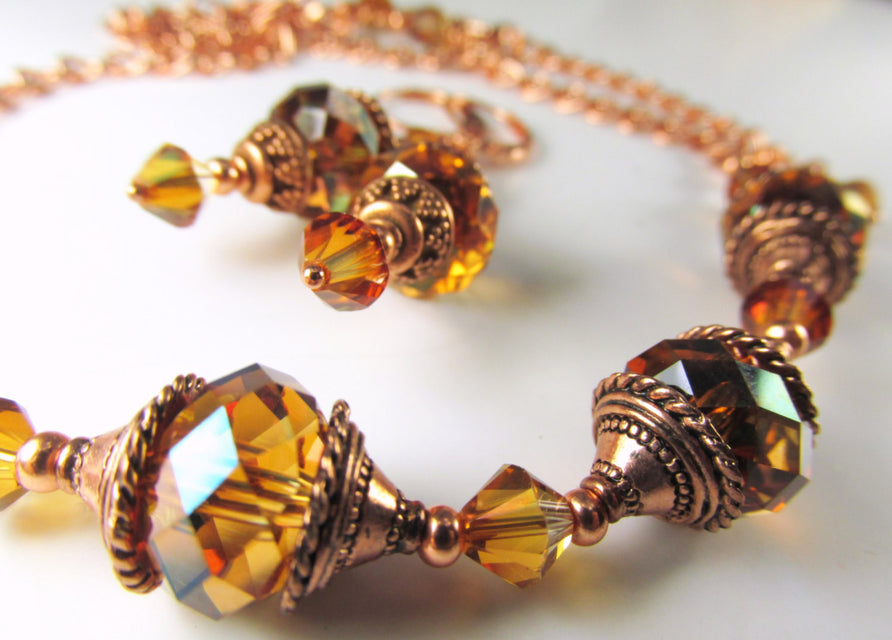 Swarovski Crystal Copper Necklace and Earring Matching Set in Copper - Rust tones - Odyssey Creations