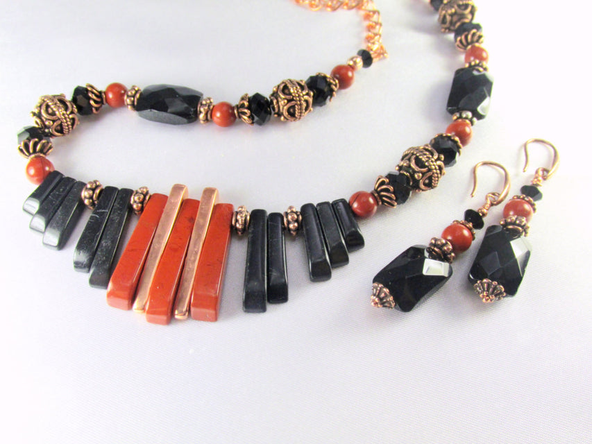 Statement Cleopatra Style Necklace and Earring Set in Red Jasper, Blackstone Semiprecious Stones - Odyssey Creations