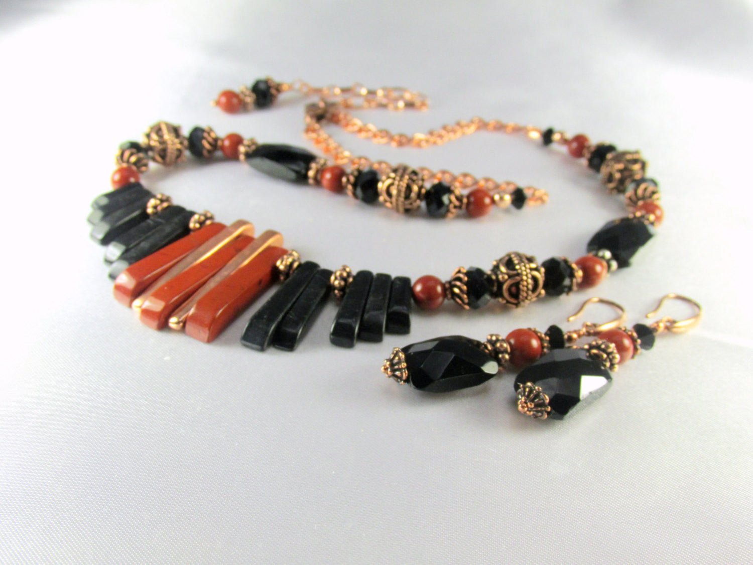 Statement Necklace and Earring Set Red Jasper, Blackstone Semiprecious Stone with Bali Copper Cleopatra Style - Odyssey Creations