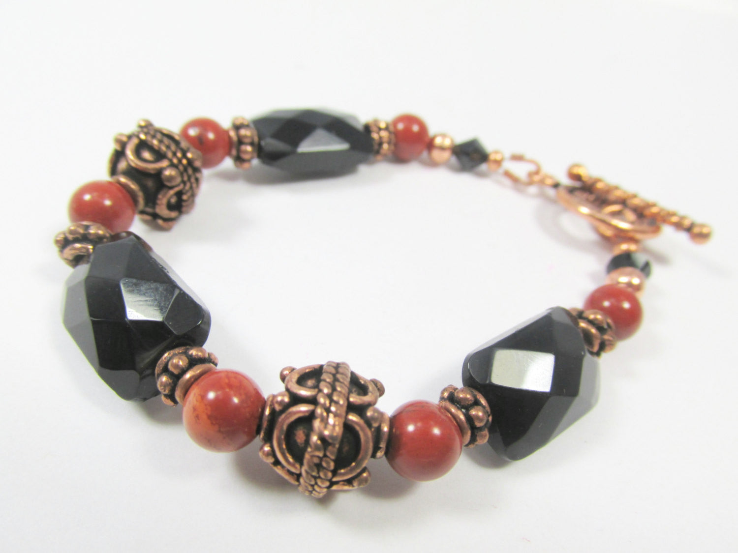 Red Jasper, Black Faceted Onyx and Bali Copper Toggle Clasp Small Bracelet - matching set available - Odyssey Creations