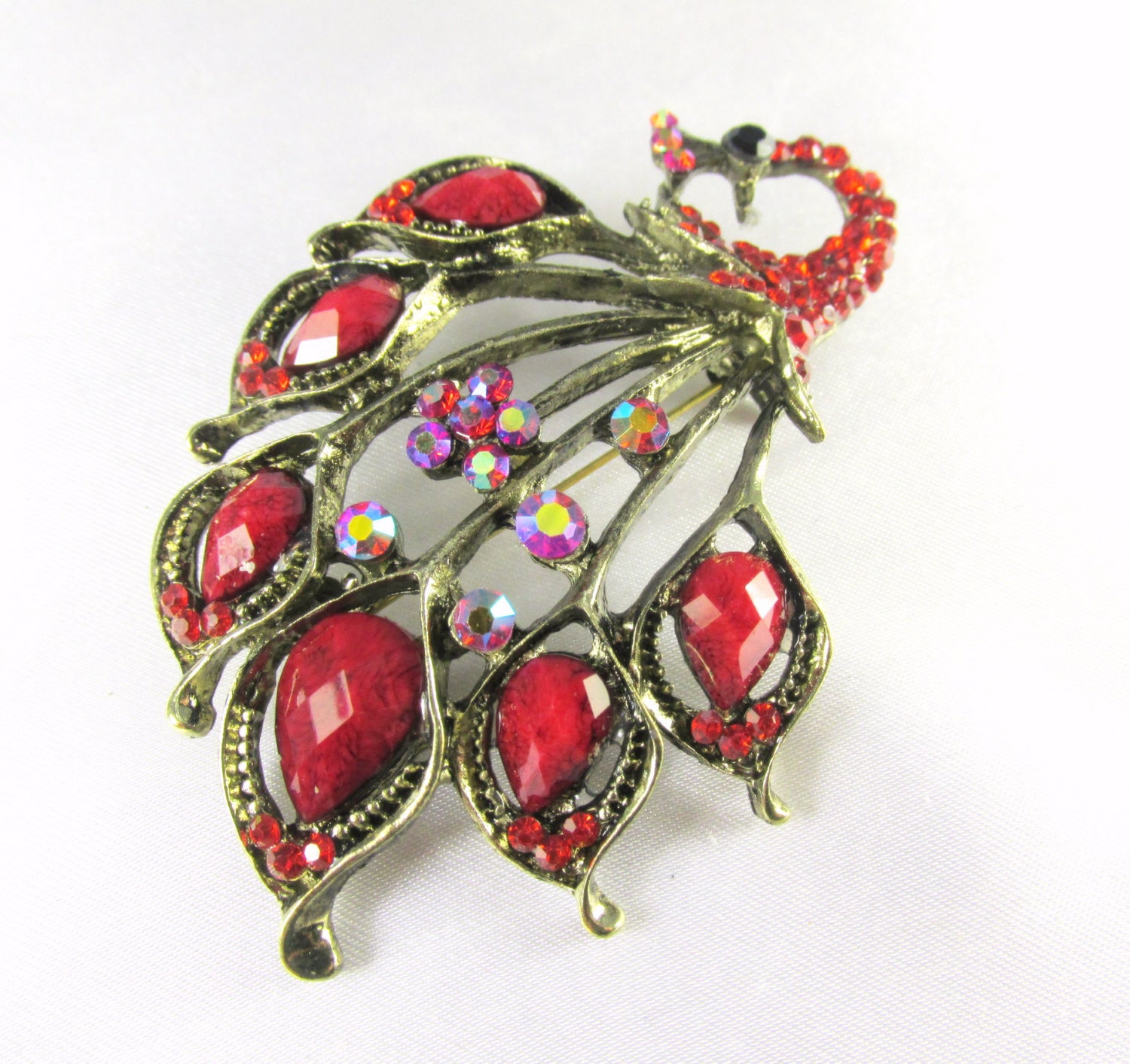 Marsala Red Peacock Brooch in Antique Gold - Odyssey Cache - 1
