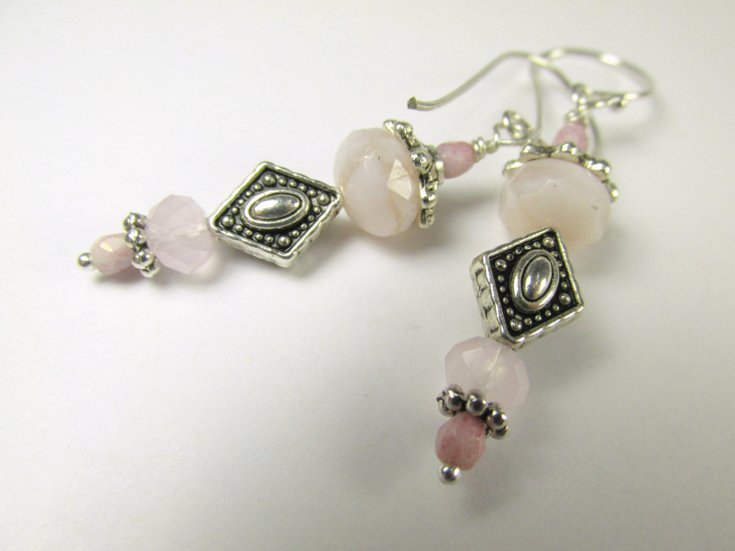 Pale Pink Rose Quartz Earrings on Bali Sterling Silver wires - 3 piece set available - Odyssey Creations