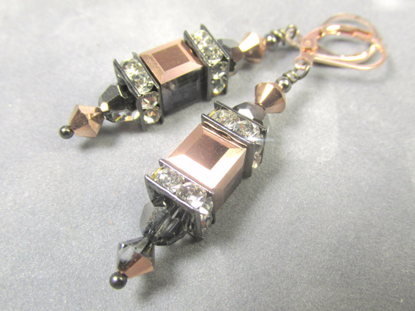 Swarovski Rose Gold and Gray Cubes with Silver Night Rounds Lantern Earrings on Gold Fill Rose Gold Leverback earring wires - Odyssey Creations