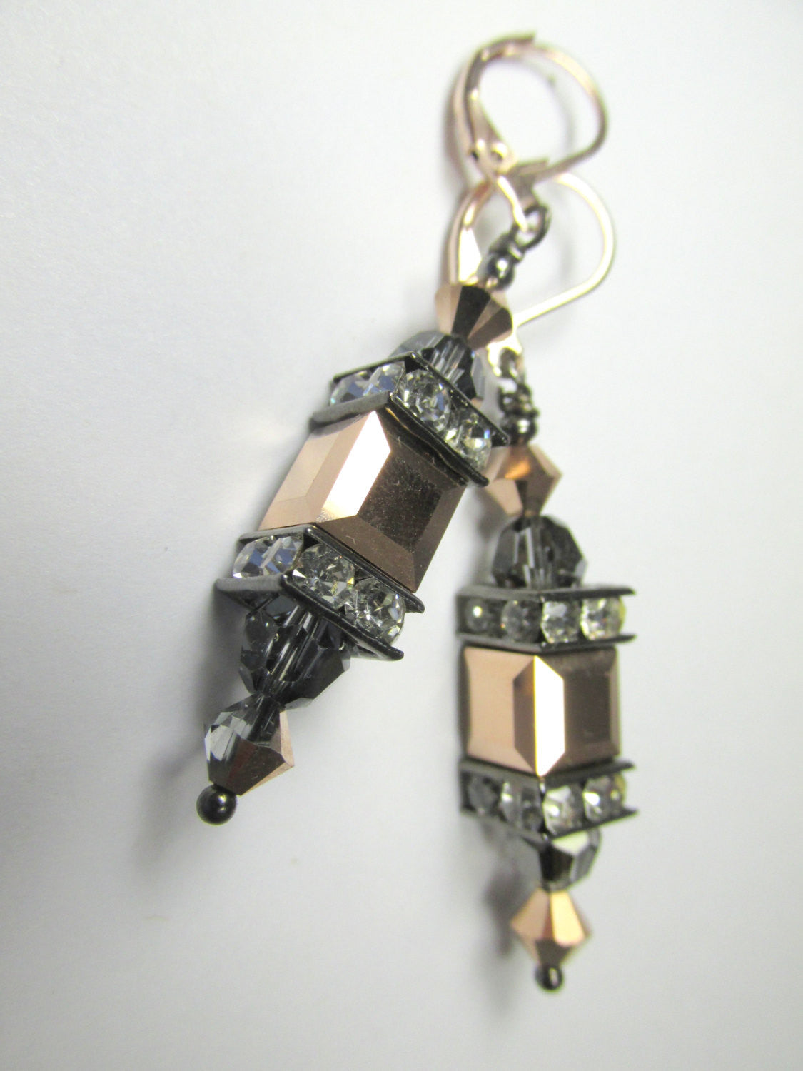 Rose Gold and Gray Cubes with Swarovski Silver Night Lantern Earrings - Odyssey Creations