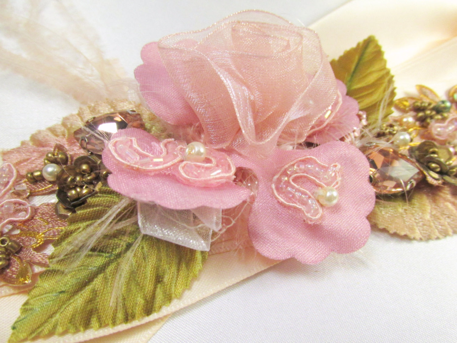 Cottage Rose Mauve, Pink, Peach Blush and Olive Green Beaded Bridal Sash - Odyssey Creations