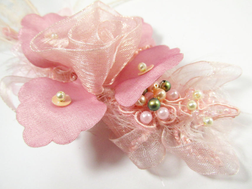 Cottage Rose Beaded Bridal Hair Clip in Mauve, Pink, Peach Blush and Olive Green - Odyssey Creations
