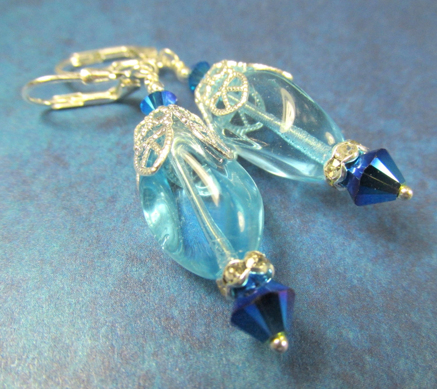 Turquoise Water Glass Drops and Swarovski Royal Blue Crystal Earrings on Sterling Silver Leverbacks - Odyssey Creations
