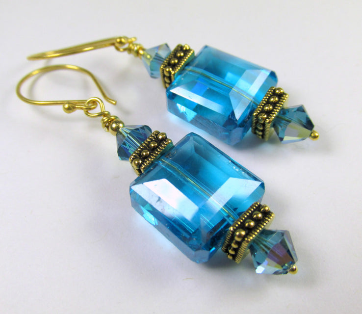 Blue Turquoise Faceted Square Glass Drops with TierraCaste Antique Gold - Odyssey Creations