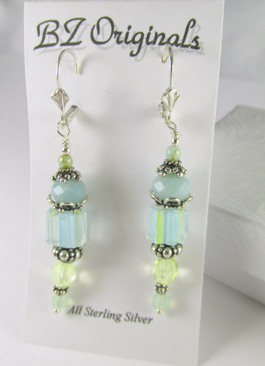 Aqua and Green Cane Glass Lampwork Beads with faceted Amazonite gemstones and Czech Glass Beads on all sterling silver - Odyssey Creations
