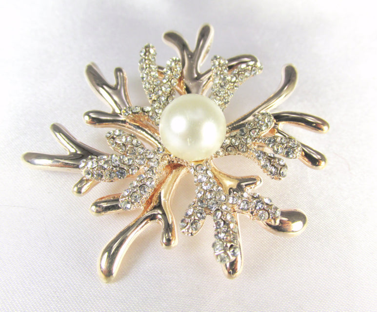 Rose Gold White Pearl and Crystal Coral Reef Brooch - Odyssey Cache - 1