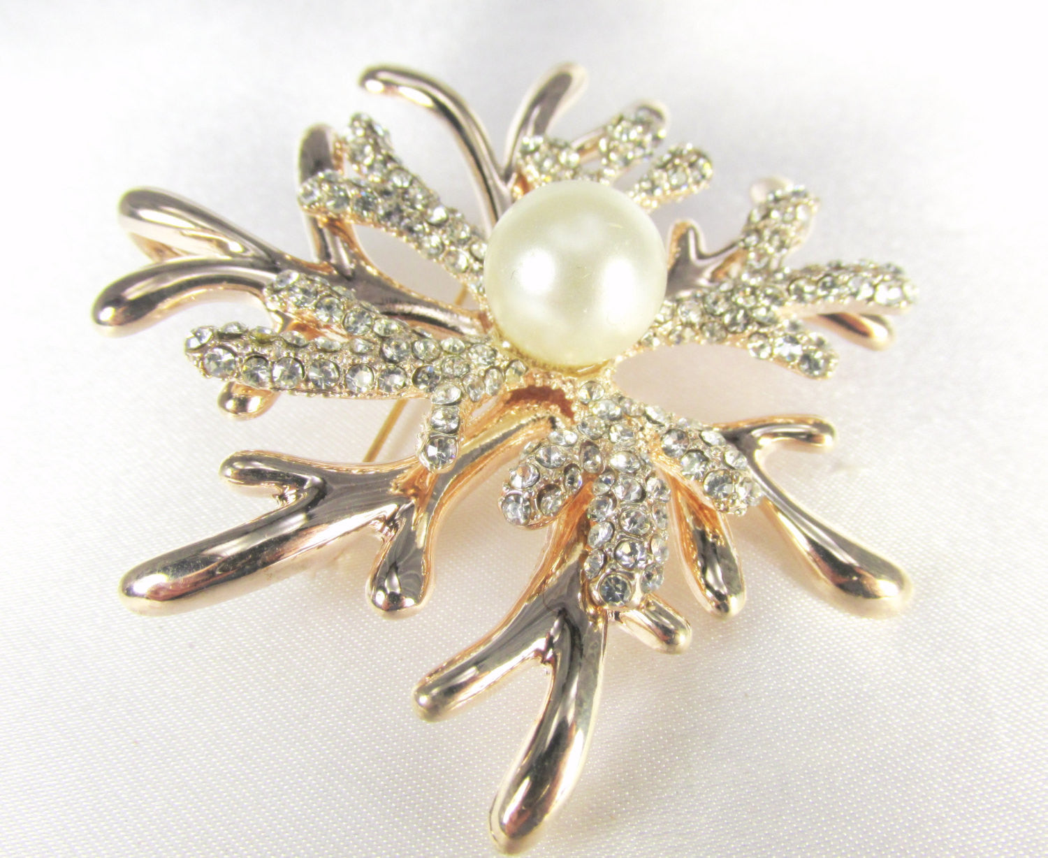 Rose Gold White Pearl and Crystal Coral Reef Brooch - Odyssey Cache - 2