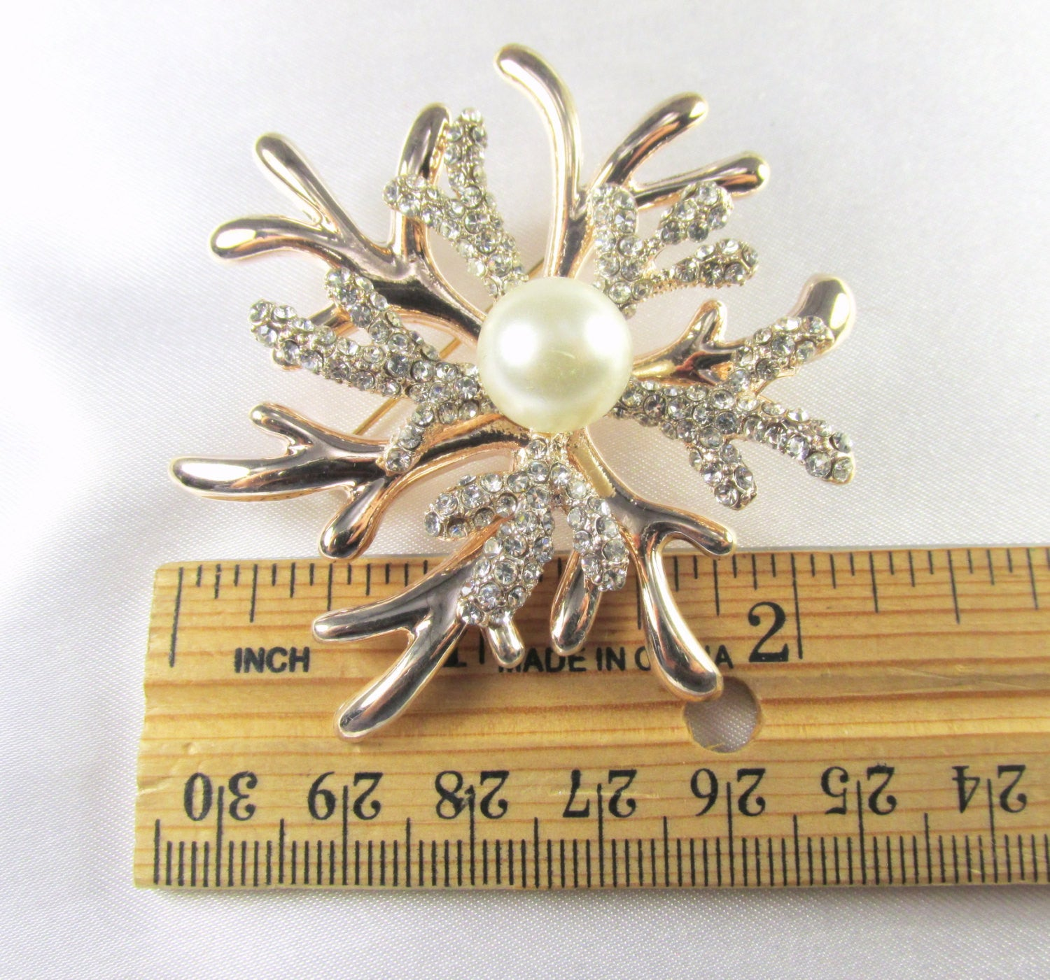 Rose Gold White Pearl and Crystal Coral Reef Brooch - Odyssey Cache - 5
