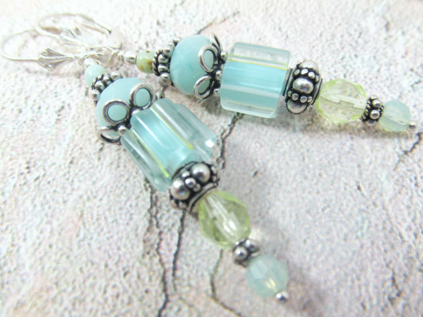 Aqua and Mint Green Cane Glass Lampwork and Amazonite Sterling Silver Earrings - Odyssey Creations