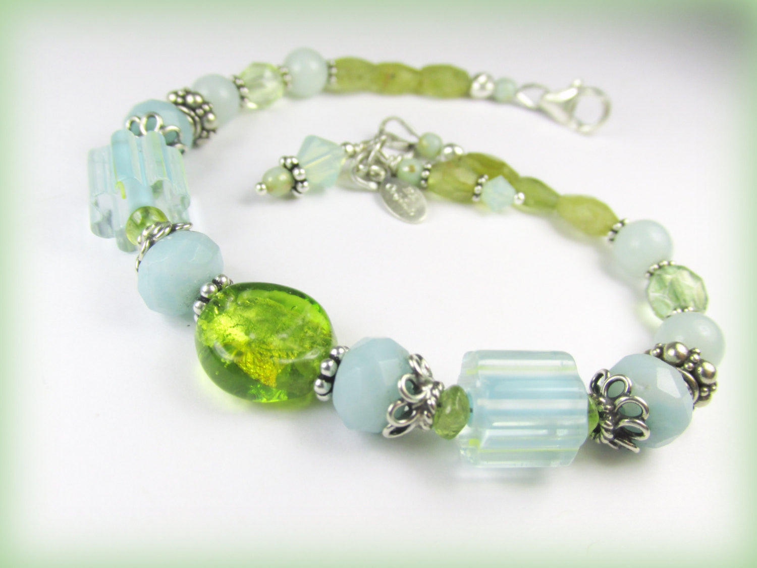 Aqua Amazonite and Green Peridot Bracelet with Murano and Cane Glass Lampwork Beads - Odyssey Creations