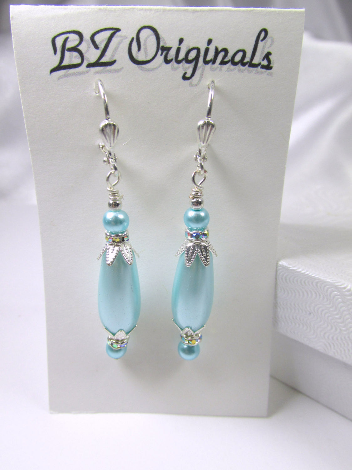 Aqua Turquoise Pearl Teardrop Bridal or Bridesmaid Earrings on Silver plate leverbacks - Odyssey Creations