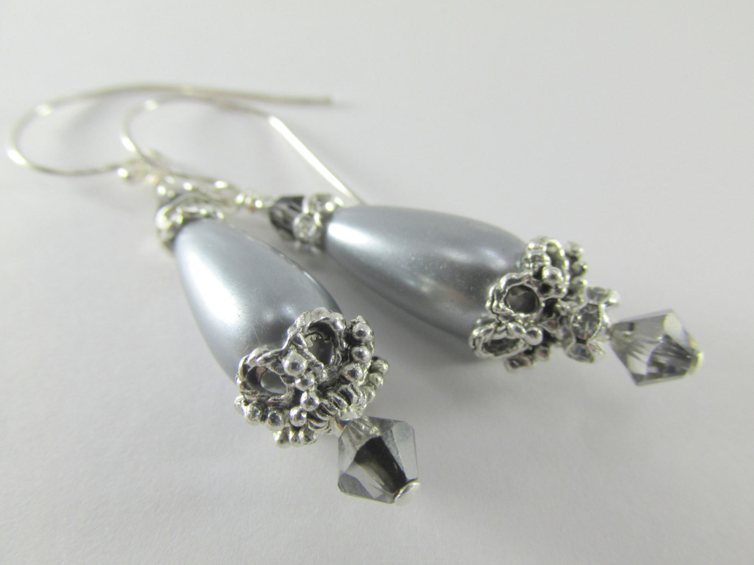Dark Gray Pearl Teardrop and Crystal Night Swarovksi Bridal or Bridesmaid Earrings on Sterling Silver Wires - Odyssey Creations