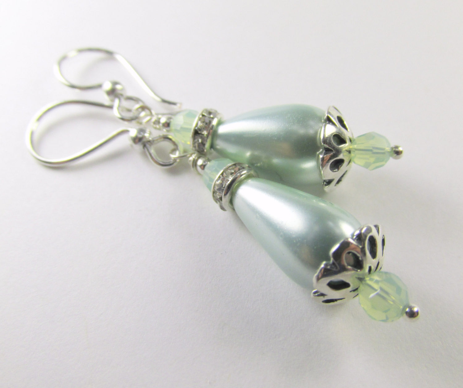 Mint Green Pearl and Chrysolite Opal Swarovksi Crystal Teardrop Bridal or Bridesmaid Earrings on Sterling Silver Wire - Odyssey Creations