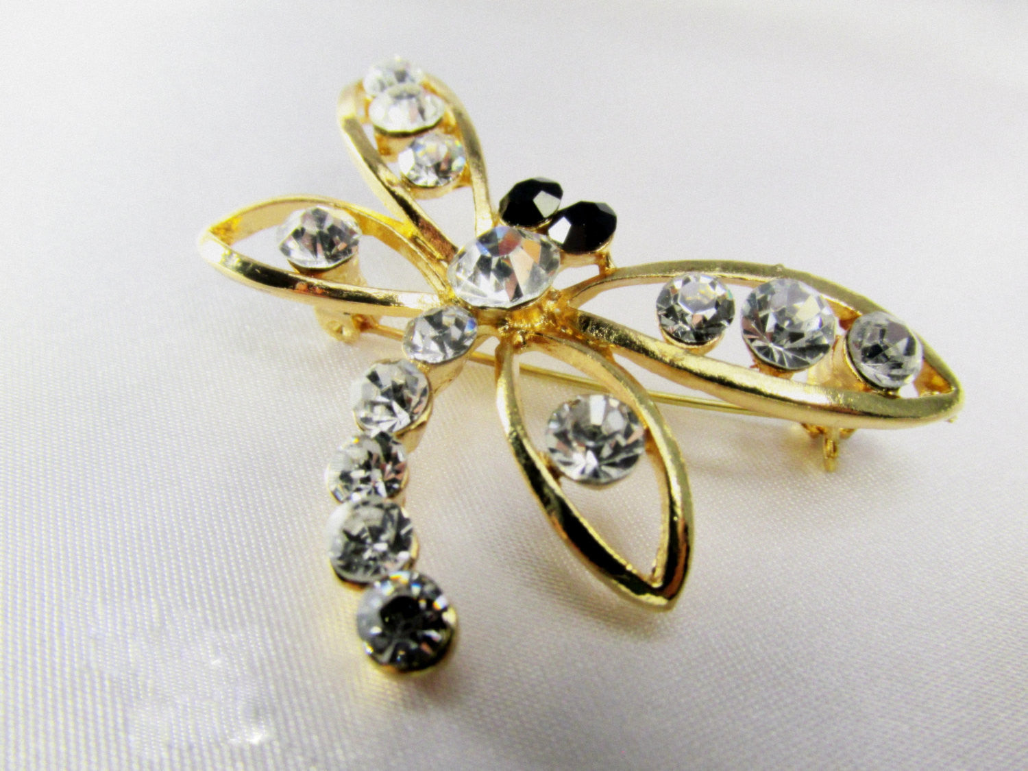 Dragonfly 2 Inch Brooch in Gold, Crystal and Black - Odyssey Creations