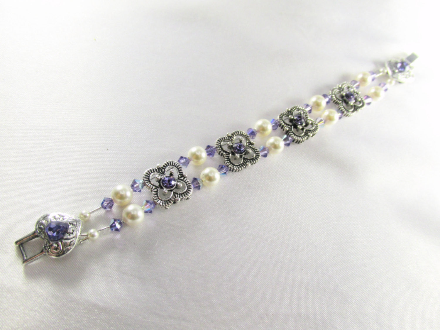 Swarovski Purple Tanzanite Small Bridal Bracelet in Antique Sterling Silver with Heart Clasp - Odyssey Creations