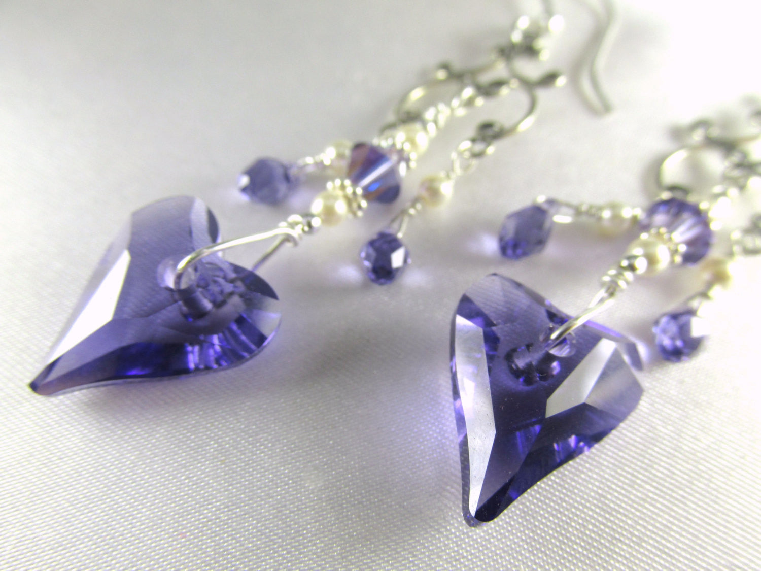 Swarovski Purple Tanzanite Wired Wild Heart Chandelier Earrings in Sterling with Tanzanite AB Teardrops, Ivory Pearls - Radiant Orchid - Odyssey Creations
