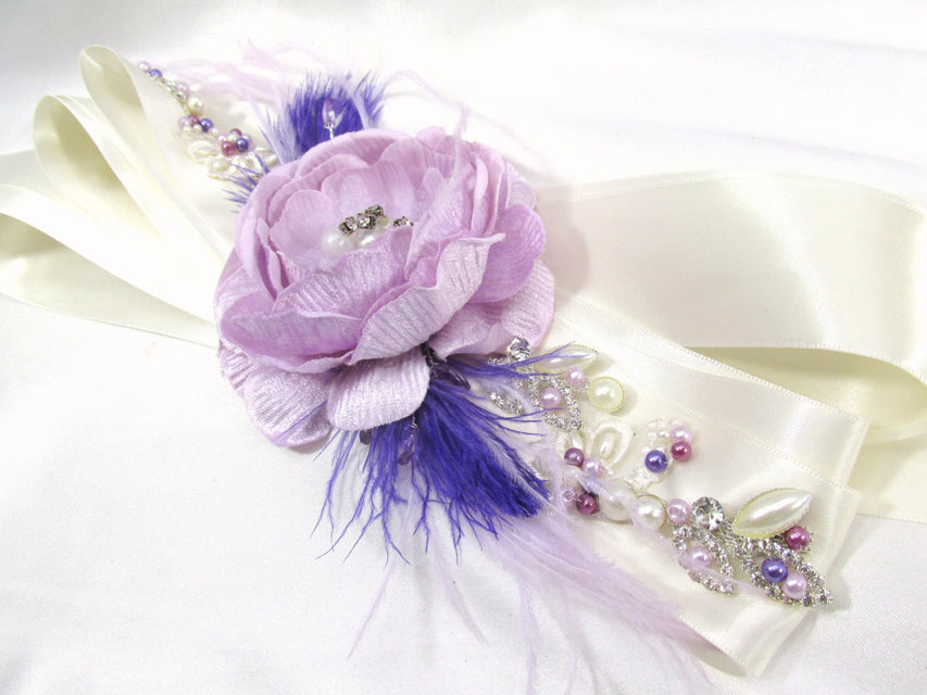 Radiant Orchid Beaded Bridal Sash or Belt in purples, lavender and ivory Swarovski pearls and rhinestones - READY TO SHIP - Odyssey Creations
