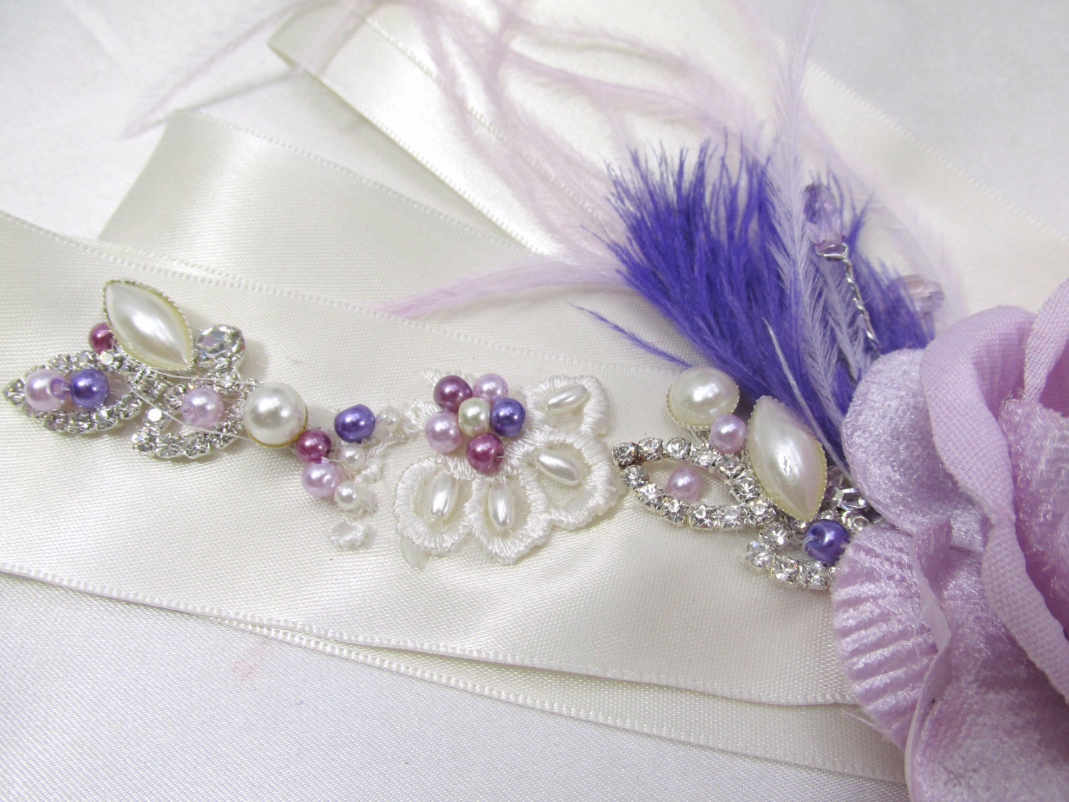 Radiant Orchid Beaded Bridal Sash or Belt with Swarovski Pearls and Rhinestones - Odyssey Creations
