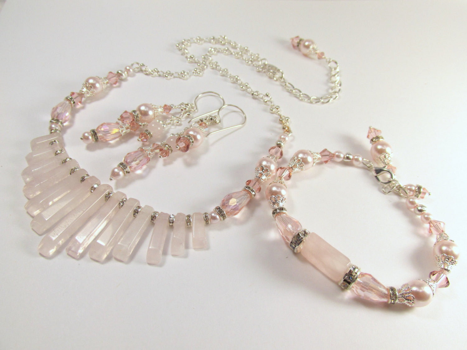 Vintage Pink Pale Blush Pearl, Rose Quartz, Crystal and Silver Bracelet with adjustable clasp - Odyssey Creations
