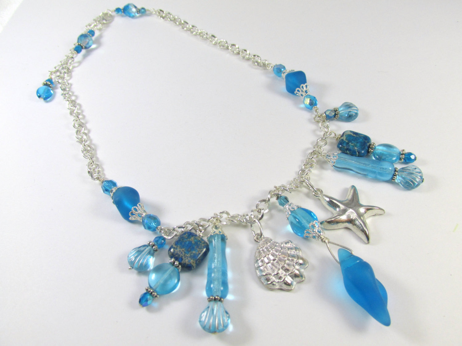 Turquoise Sea Glass and Blue Jasper Charmed Necklace - Odyssey Creations