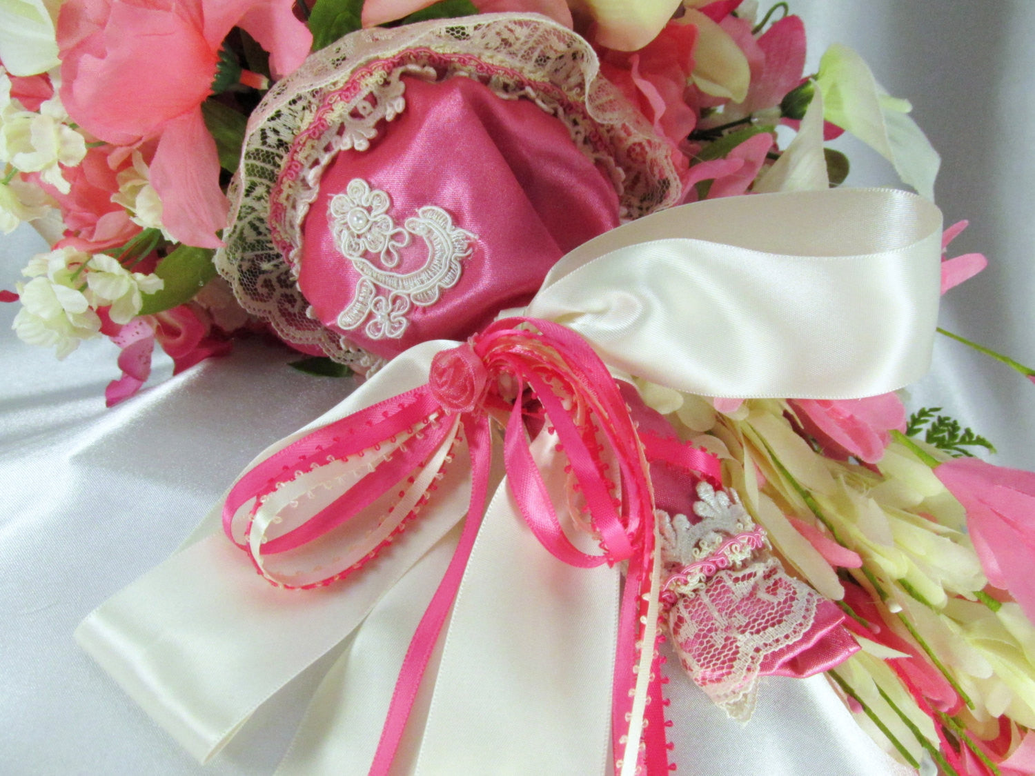 Bright Pink Azaleas and Ivory Cymbidium Orchids Victorian Cascading Bridal Brooch Bouquet - Odyssey Creations