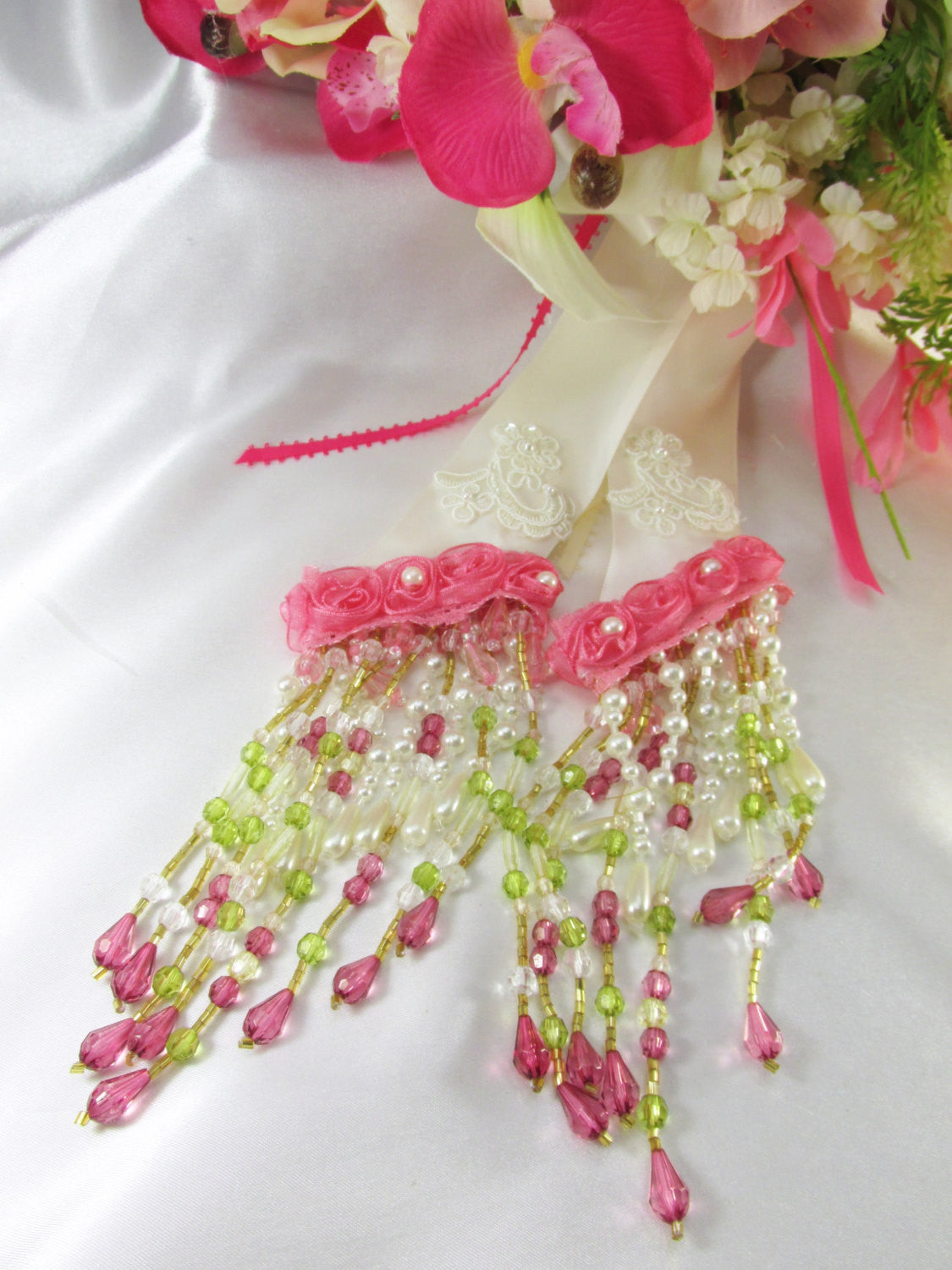 Azaleas and Cymbidium Orchids Pink and Ivory Victorian Cascading Bridal Brooch Bouquet - ready to ship - Odyssey Creations