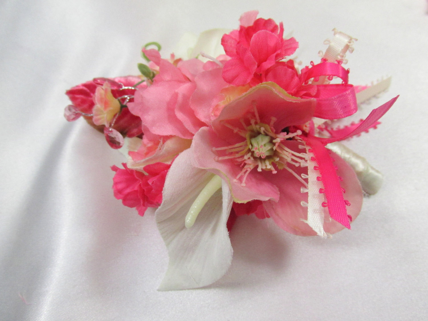 Bright Pink and Ivory Boutonierre or Corsage with Calla Lilies and Azaleas - Odyssey Creations