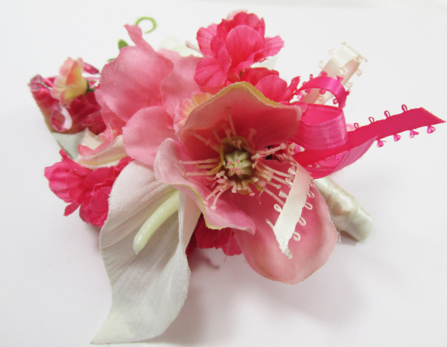 Pink and Ivory Boutonierre or Corsage with Calla Lilies and Azaleas - ready to ship - Odyssey Creations