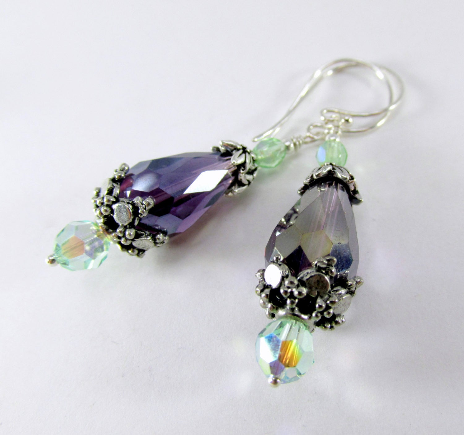 Amethyst Purple and Mint Green Earrings on Sterling Silver - Odyssey Creations