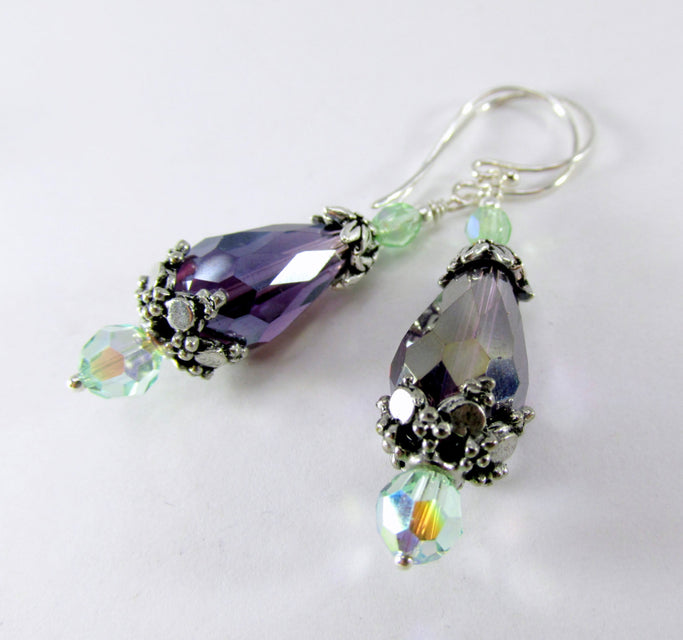 Amethyst Purple and Mint Green Earrings on sterling wires - Odyssey Creations