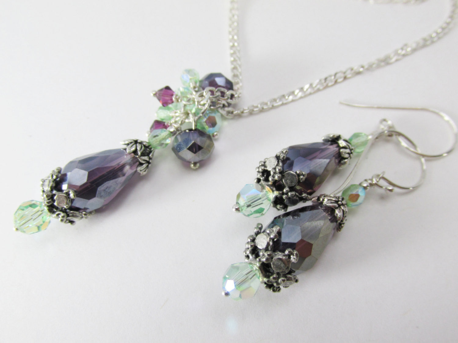 Amethyst Purple and Mint Green Bridal or Bridesmaid Necklace and Earring Set on fine sterling silver chain and wires - Odyssey Creations