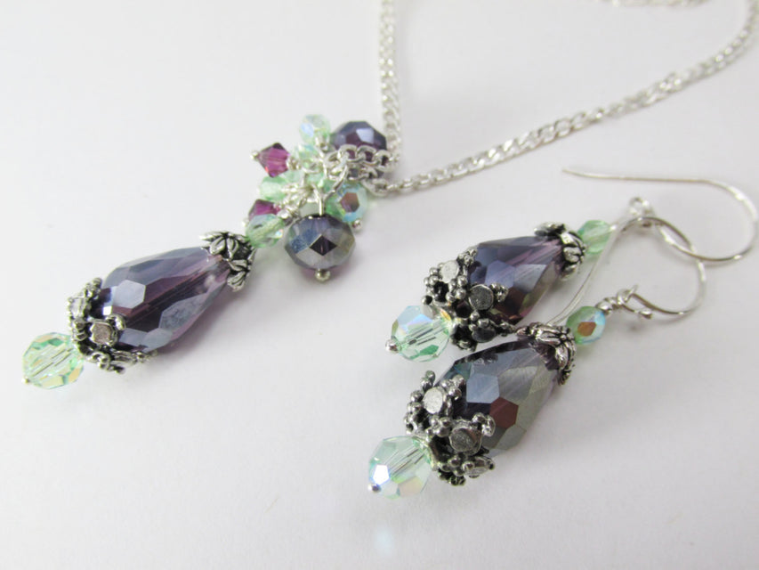 Amethyst Purple and Mint Green Necklace and Earring Set on Sterling Silver Chain - Odyssey Creations