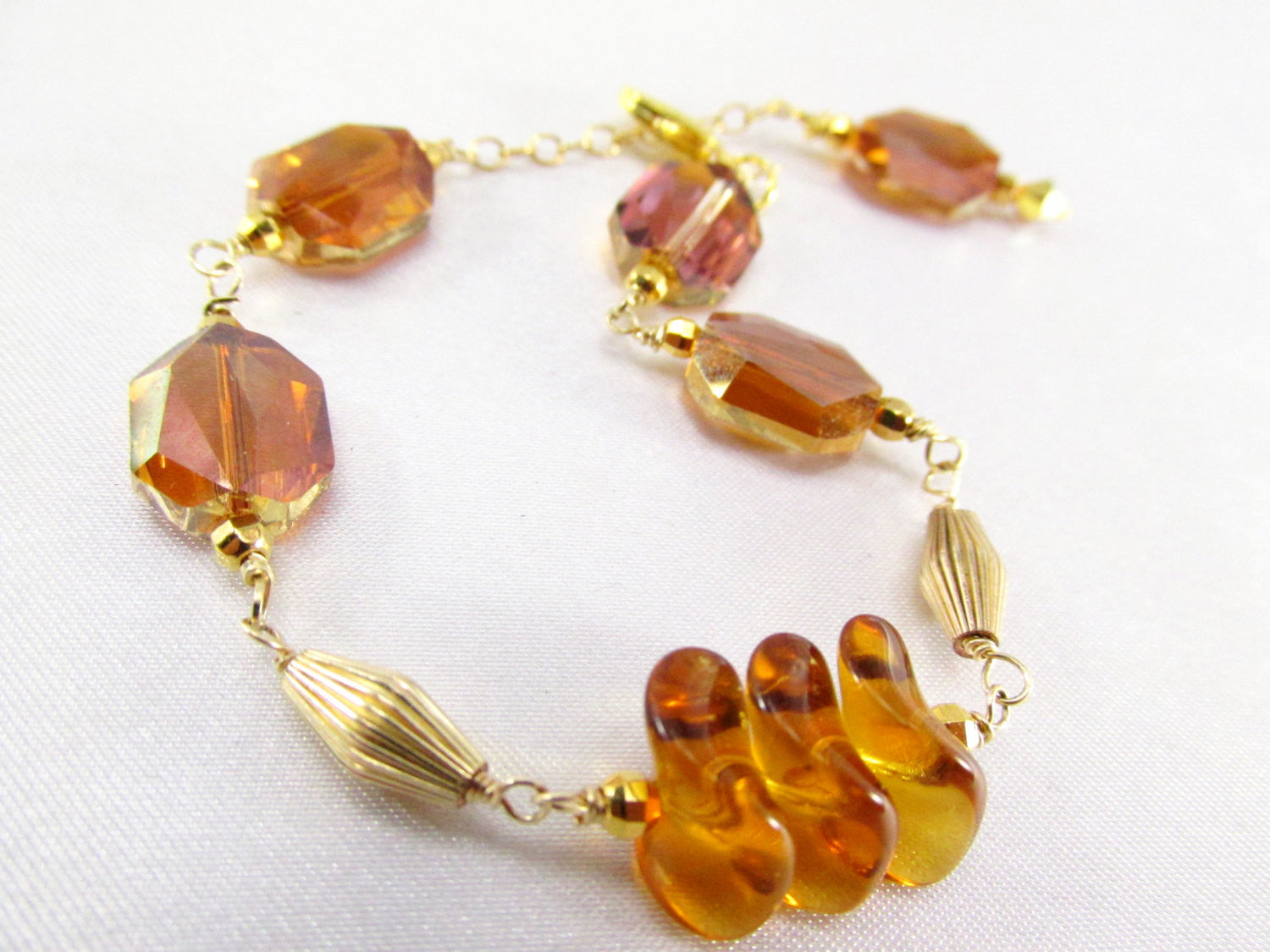 Crystal Copper Graphic Cube and Topaz Czech Glass Bracelet on 14k Gold Fill - Odyssey Creations