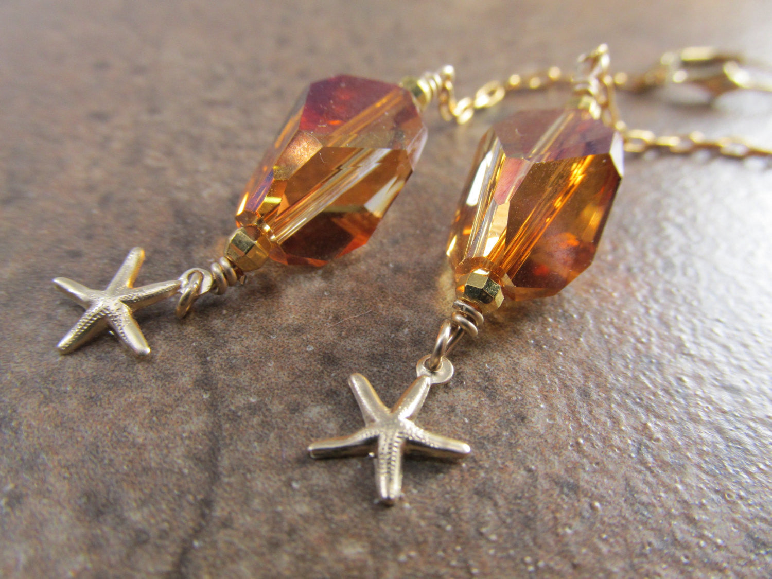 Crystal Copper Cubist and Starfish Asymmetrical Necklace and Earrings Set in 14k Gold Fill - Odyssey Creations