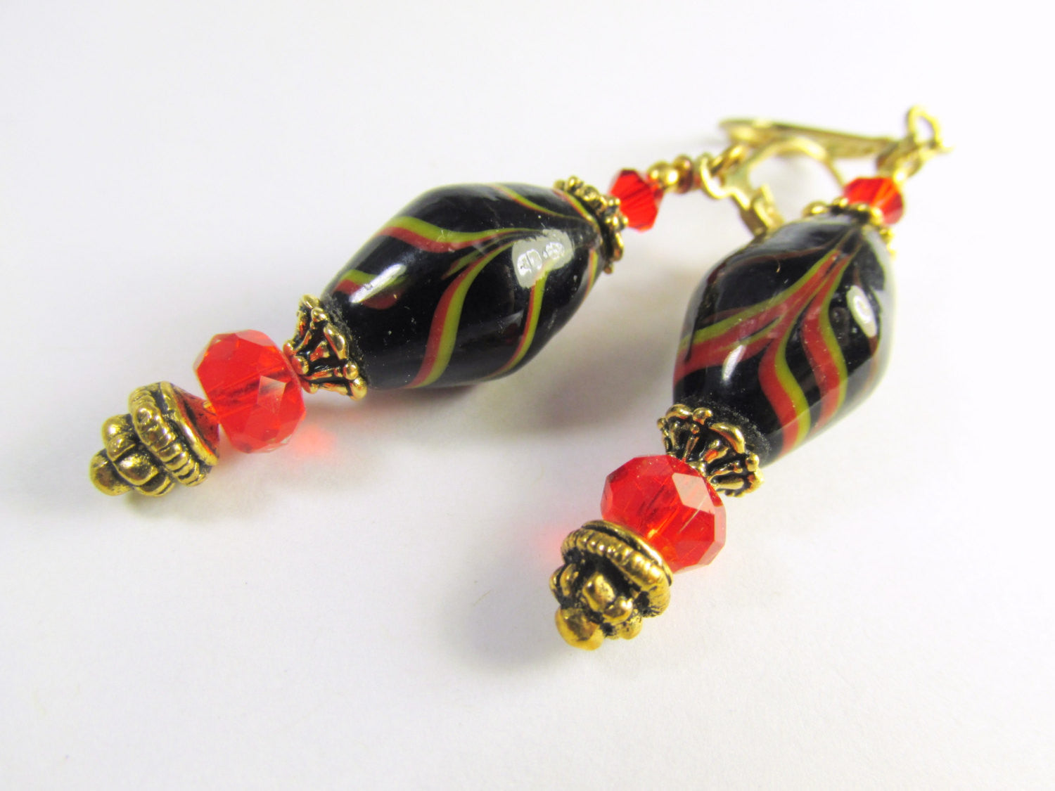Red Black and Gold India Lampwork Glass Earrings on Gold Leverbacks - Odyssey Creations