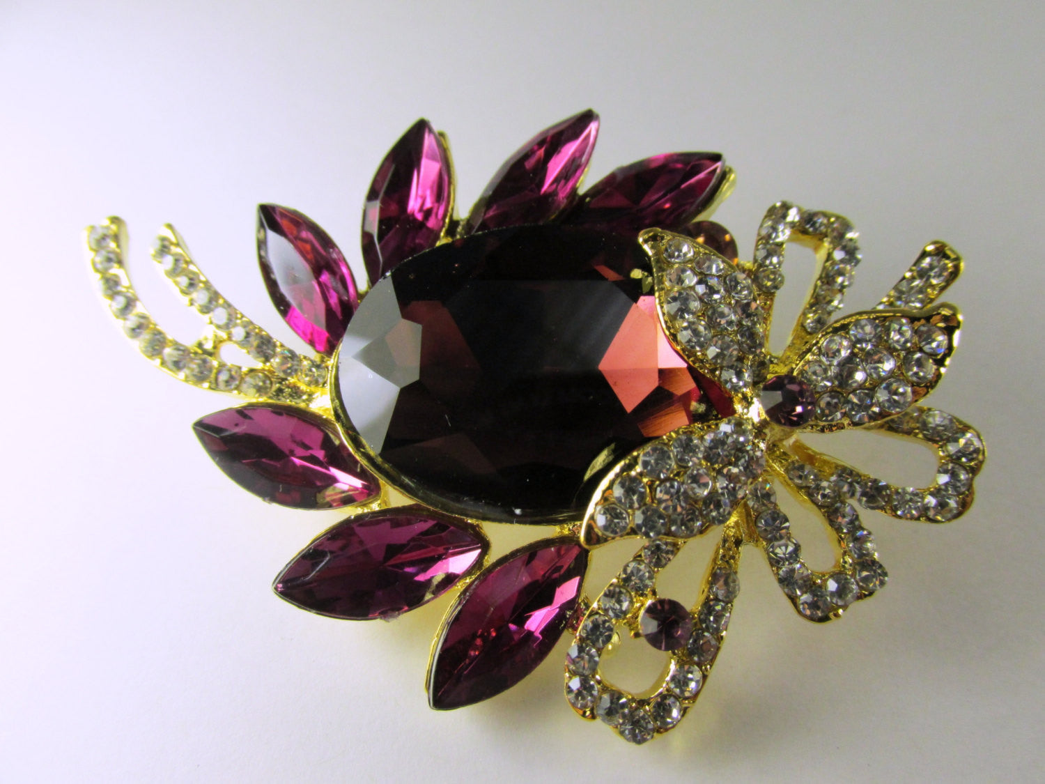 Purple Amethyst, Clear and Gold 3 Inch Brooch - Odyssey Creations