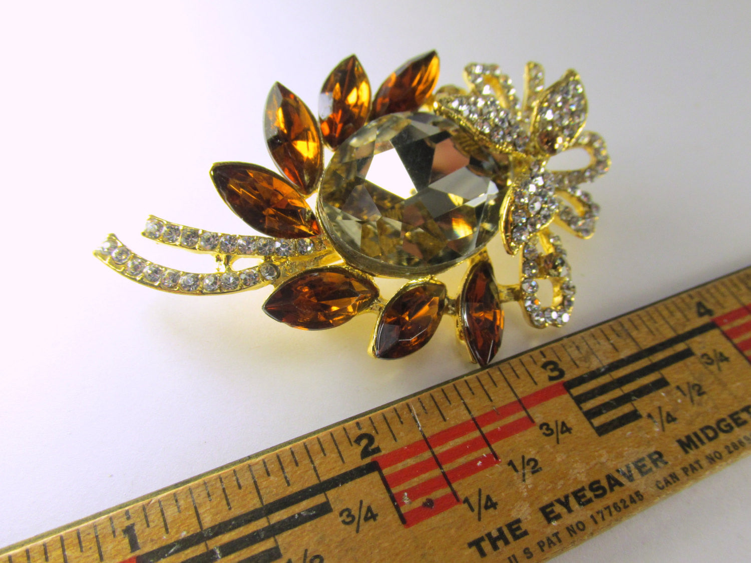 Purple Amethyst, Clear and Gold 3 Inch Brooch - Odyssey Cache - 4