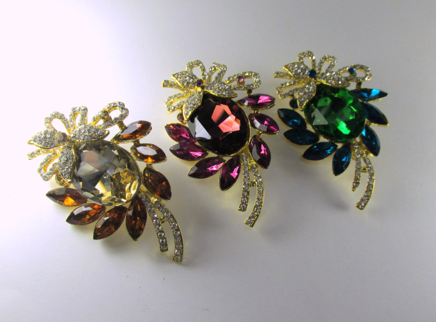 Blue Turquoise, Green, Crystal Clear and Gold Brooch - Odyssey Creations