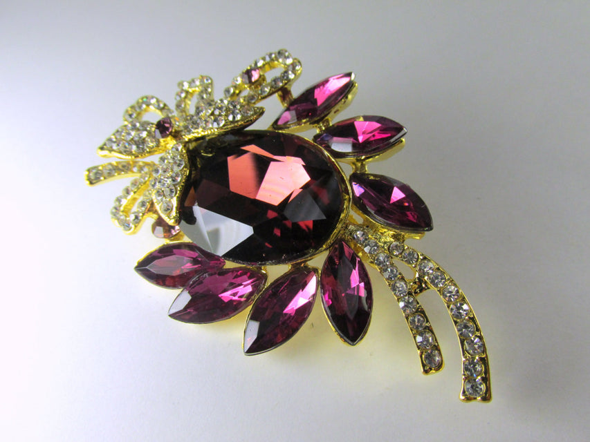 Purple Amethyst, Clear and Gold 3 Inch Brooch - Odyssey Cache - 1