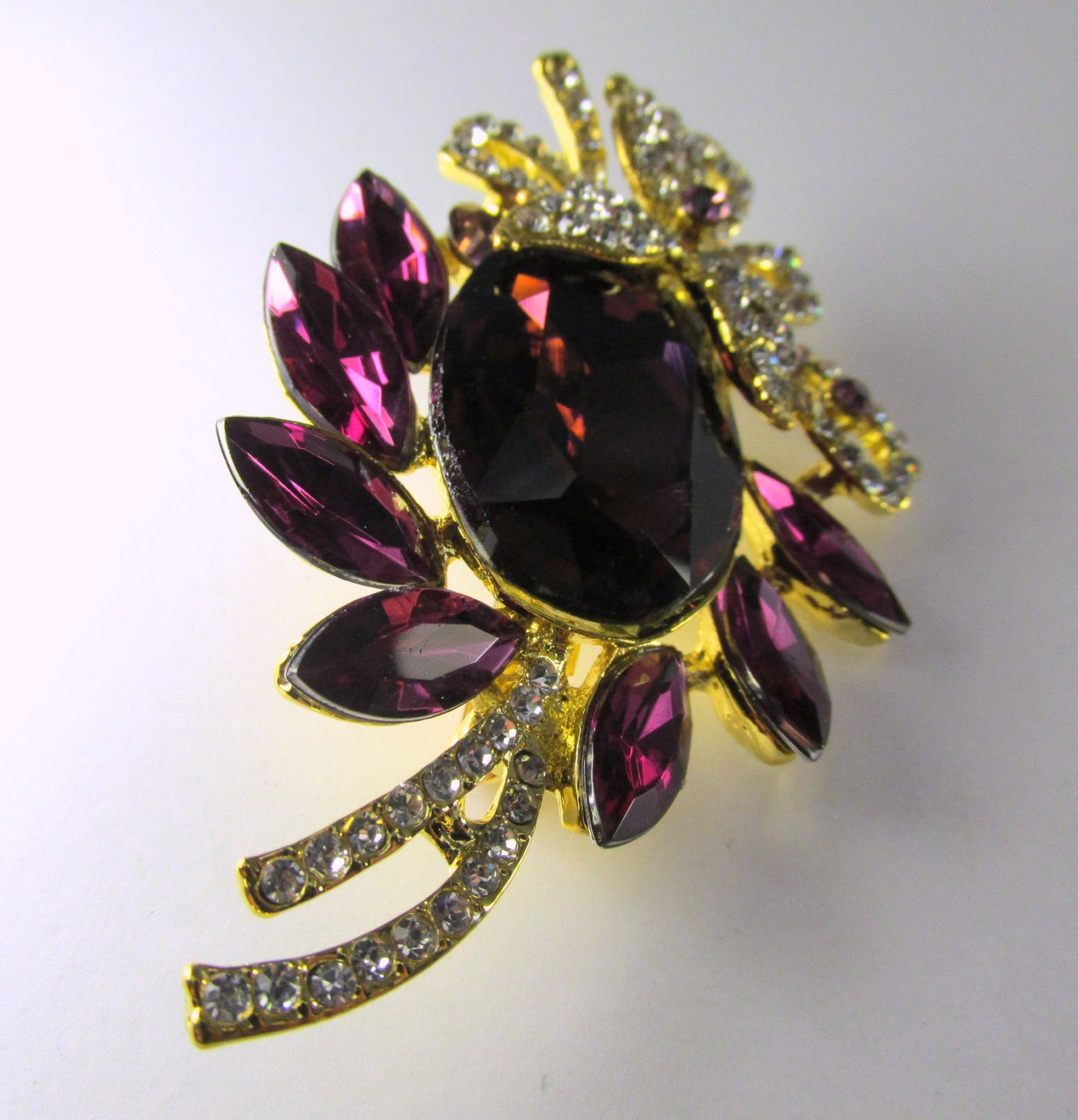 Purple Amethyst, Clear and Gold 3 Inch Brooch - Odyssey Cache - 3