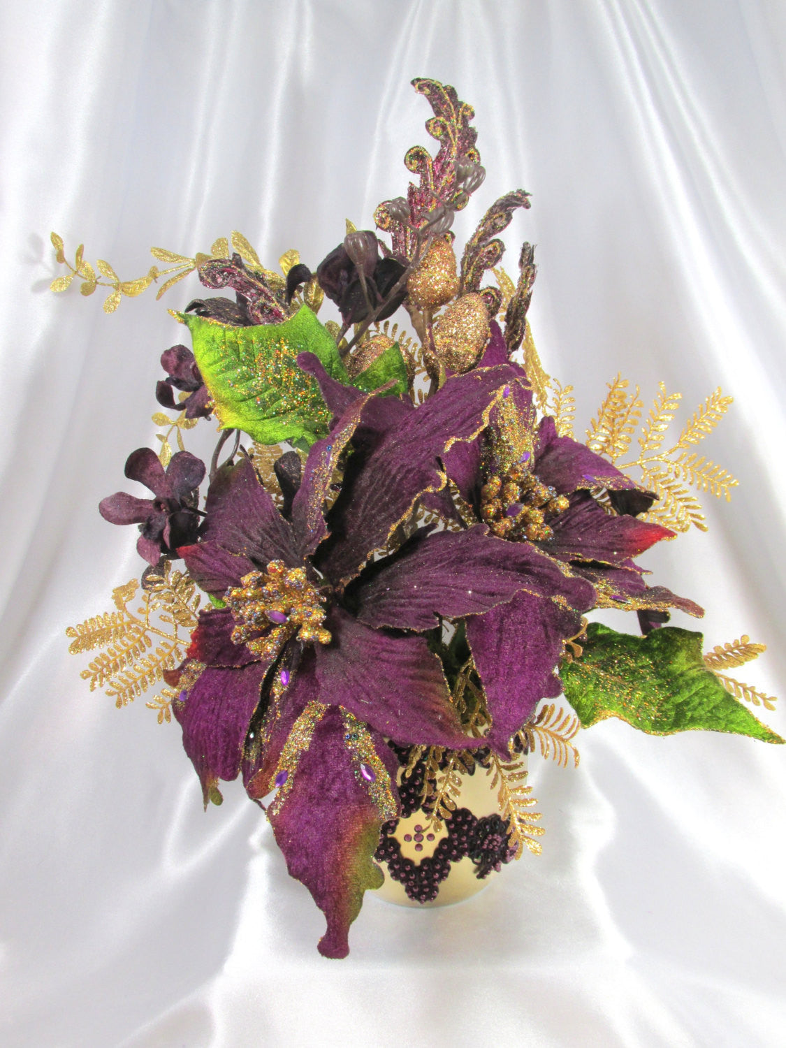 Purple and Gold Silk Christmas Floral Arrangement with Purple Poinsettias, Orchids and Beaded Gold Vase - Odyssey Creations