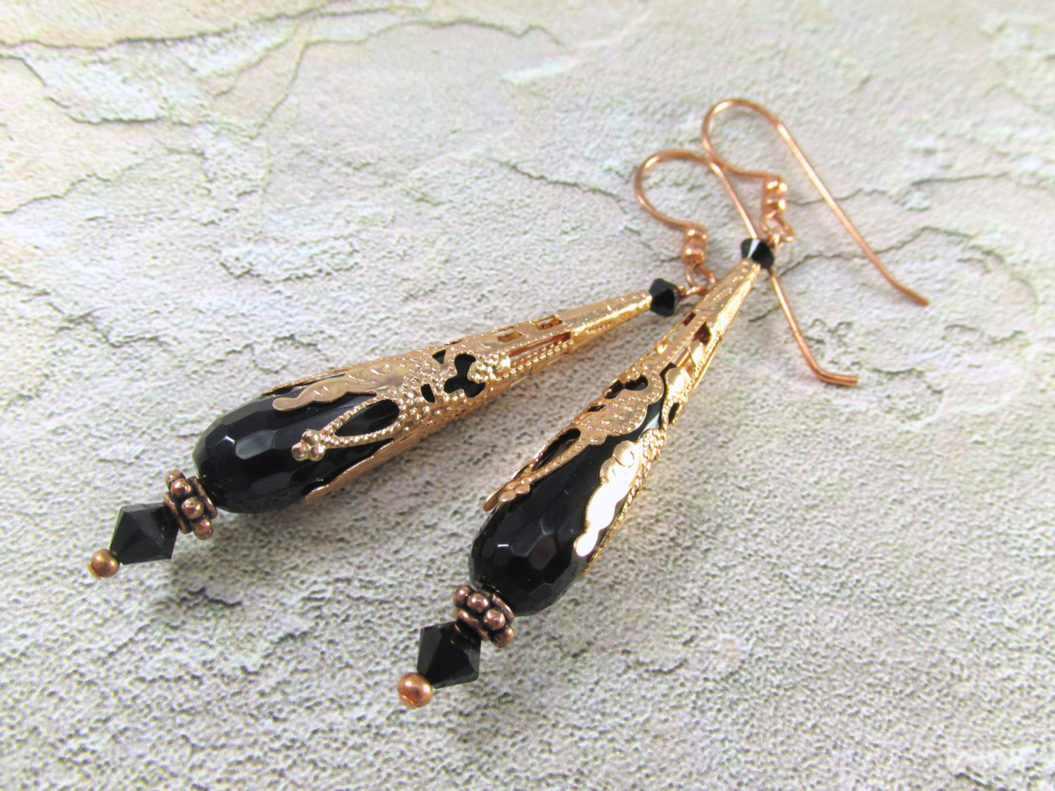 Long Black Earrings with Faceted Agate Semiprecious Stone Faceted Teardrops on Copper - Odyssey Creations