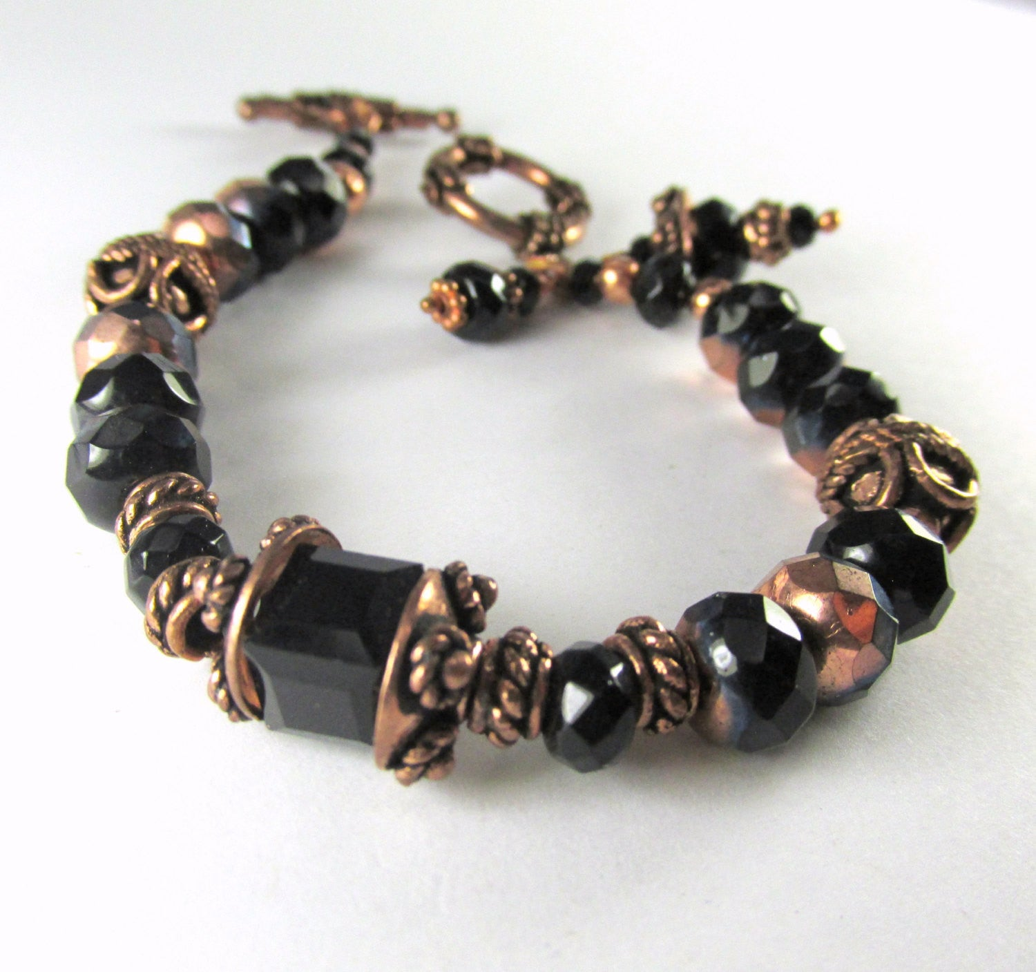 Black and Copper Bracelet with Czech Glass and Swarovski Cubes - Odyssey Creations