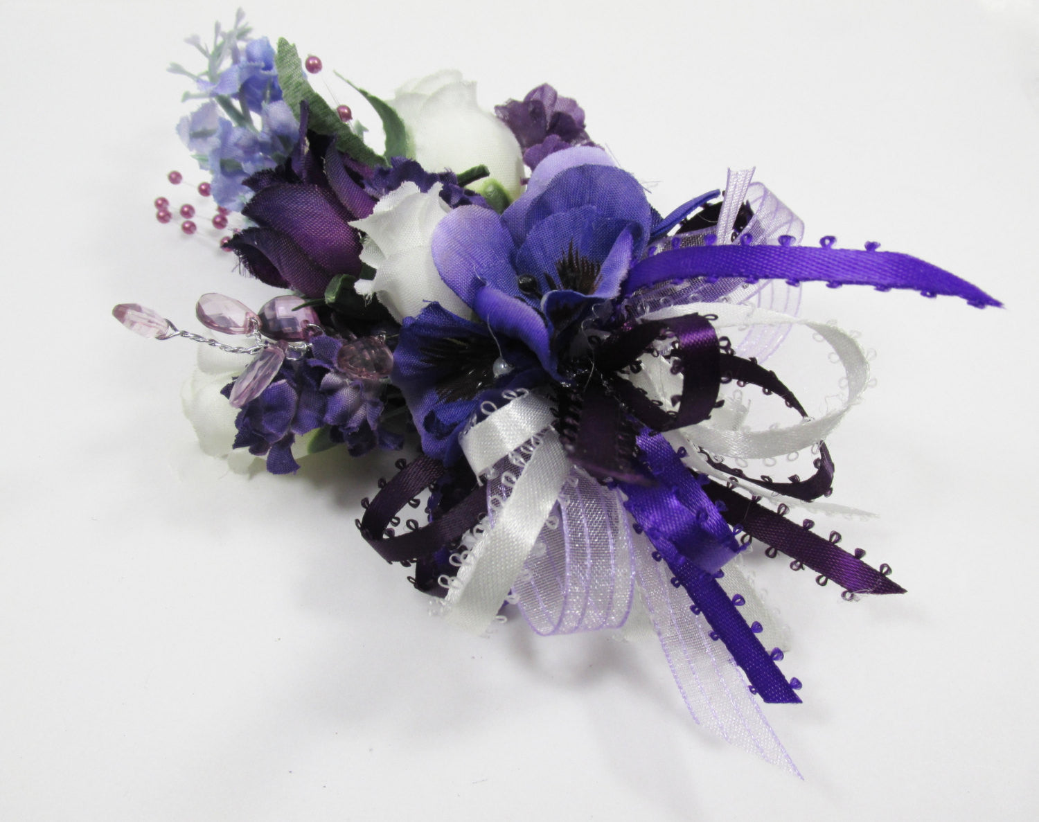 Bridal Bouquet and Boutonniere Radiant Orchid colors Set in Ivory, Purple and Lavender Roses with Ivory Pearl Beaded Fringe - Ready to Ship - Odyssey Creations