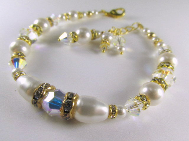 White Swarovski Pearls, Clear Crystal AB Crystals Adjustable Bracelet - Odyssey Creations